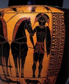 A close up view of a black-figure hydria,showing a full frontal view of an armored hoplite,520 BC.Antimenes Painter