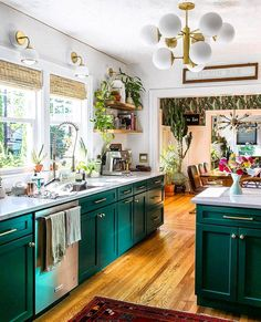 a super bright space with turquoise cabinets, white stone countertops and walls, touches of gold - DigsDigs Bohemian Kitchen Decor, White Kitchen Decor, Green Kitchen, Kitchen Redo, Kitchen Colors, New Kitchen, Kitchen Remodel, Turquoise Kitchen Cabinets, Interior Exterior