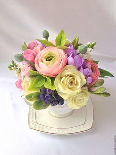 Купить Букетик из холодного фарфора Июнь с черникой - букет цветов, букет в чашке, интерьерная композиция