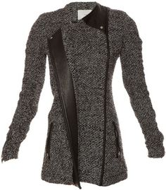 8015b1a6ee Iro Long Sleeve Derby Tweed Coat With Leather - Lyst Grey Leather Jacket