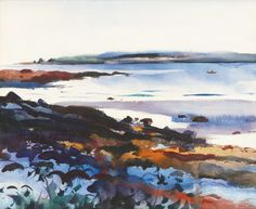 """"""" Andrew Wyeth (1917 - 2009) Low Tide - Maine Coast Early Morning watercolor on paper 45.7 x 55.9 cm """""""