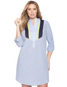 Colorblock Bib Shirt Dress Blue White Pinstripe / Maritime & Lime Popsicle