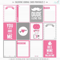 14 Days of FREE Valentine's Printables » Day 6… { view my entire valentine's series here } 12 – 3×4″ Printable Valentine's Journal Cards! Enjoy :o) ♥mt