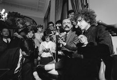 Bob Dylan at a press conference at the George V Hotel, Paris, 1966; photograph by Barry Feinstein