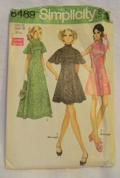 Vintage 1960s Party Dress Pattern-Mini- Dress-Simplicity8489- 38 Bust-Angel-Bell Sleeves. $4.00, via Etsy.