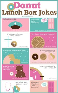 Best Diy Crafts Ideas For Your Home Donut Lunch Box Jokes. Kids love finding these in their lunches at school. Great way to connect with kids.Capturing-Joy… -Read More – Christmas Jokes For Kids, Funny Christmas Jokes, Christmas Humor, Christmas Lunch, Funny Jokes For Kids, Best Funny Jokes, Funny Puns, Kid Jokes, Kids Humor