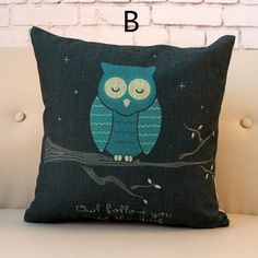 Pop art stained owl pillows art home decorative throw pillows linen cushions