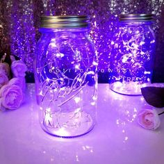 LED strings lights for lighting up you wedding reception centerpieces. Perfect for a: purple wedding, lavender wedding, violet wedding, bridal sh Lavender Centerpieces, Purple Wedding Decorations, Sweet 16 Decorations, Quince Decorations, Quinceanera Decorations, Wedding Reception Centerpieces, Purple Centerpiece Wedding, Quinceanera Party, Table Wedding