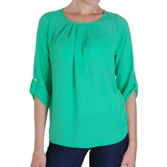 Humble Chic NY Button Tab Blouse ($48) ❤ liked on Polyvore featuring tops, blouses, aquamarine, pleated shirt, chiffon blouse, green blouse, chiffon shirt blouse and pleated dress shirt