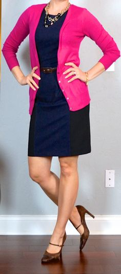 outfit post: pink cardigan, colorblocked sheath dress, brown mary janes
