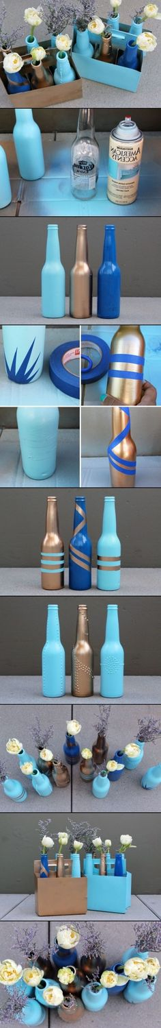 DIY Beer Bottle Vases Must have gotten the idea after drinking a case of them... Flippin decor from the DOLLAR STORE would be UPTOWN compared to this