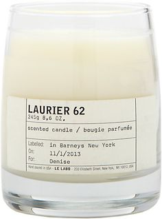 Le Labo's Laurier 62 candle is crafted of perfumed vegan soy wax hand-poured into a thick glass vessel. Lovingly referred to as a beautiful mess, the unique fragrance will leave a rich and enveloping aroma in any space. Notes: laurel, rosemary, eucalyptus, thyme, cumin, clove, amber, patchouli, sandalwood.