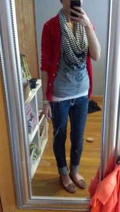 Red Cardigan, Grey Shirt, Brown and White Scarf, and Blue Jeans