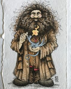 """128 Likes, 11 Comments - Beau Jackson (@the__narwhal__prince) on Instagram: """"Daily Potter - Day 4: (RESERVED) Hagrid, the gentle, hairy giant with a huge soft spot for strange,…"""""""