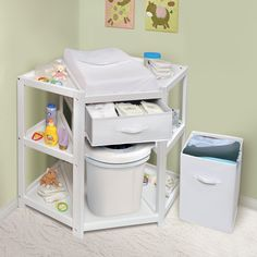 Badger Basket Diaper Corner Baby Changing Table with Hamper and Basket | from hayneedle.com