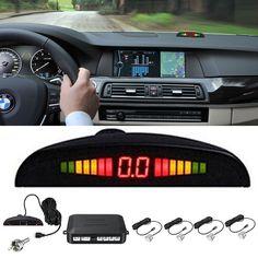 4 Silver Parking Sensors Car Backup Reverse Radar System Alarm Kit LED Display