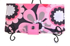 $30.00 Flower Wallet with Pearl Snaps and Zipper Pocket Michael Miller Contemporary Floral flower shower petal pink gray and white