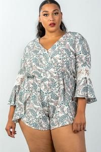 Imported Polyester Off White TSH Ladies fashion plus size bell sleeves floral crochet sleeves surplice romper split Item Measurements: SIZE SIZE split split Older Women Fashion, Curvy Fashion, Plus Size Fashion, Girl Fashion, Womens Fashion, Fashion Tips, Fashion Design, Ladies Fashion, Feminine Fashion