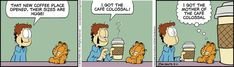 """Created by Jim Davis, Garfield is about the famous fat cat and his hilarious daily adventures with his """"pal"""" Odie and others. Garfield Cartoon, Garfield And Odie, Garfield Comics, A Comics, Funny Comics, Hagar The Horrible, Jim Davis, Non Sequitur, Fat Cats"""