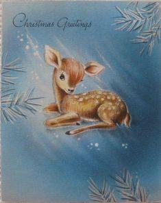 Vintage Christmas Card Fawn Deer Hallmark 1947 Reindeer Greeting