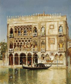 José Moreno Carbonero - Ca' d'Oro [c/1897]  Ca' d'Oro (correctly Palazzo Santa Sofia) is a palace on the Grand Canal in Venice. One of the older palaces in the city, it has is known as Ca' d'Oro (golden house) due to the gilt and polychrome external decorations which once adorned its walls. The palace was built between 1428 and 1430 for the Contarini family, who provided Venice with eight Doges between 1043 and 1676.   [Museo CarmenThyssen, Málaga - Oil on canvas, 49.5 x 40 cm]
