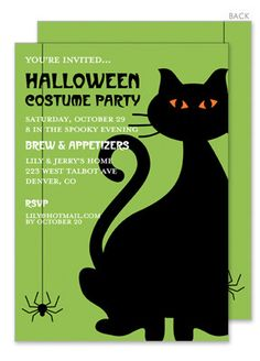 Cosmic Crepper Black Cat Halloween Invitations