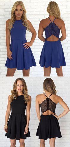 2017 homecoming dress, short homecoming dress, chiffon homecoming dress, royal blue chiffon homecoming dress, black short chiffon homecoming dress
