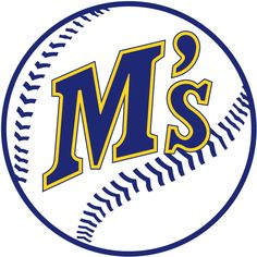 Seattle Mariners Primary Logo (1987) - M's in blue with yellow outline on a baseball