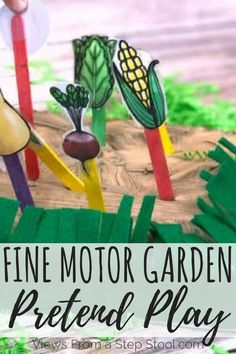 This garden pretend play activity is perfect for preschoolers! So much learning from vegetable identification, how plants grow & fine motor exercise! Fine Motor Activities For Kids, Motor Skills Activities, Kindergarten Activities, Preschool Activities, Nutrition Activities, Nutrition Guide, Healthy Nutrition, Healthy Eating, Farm Lessons