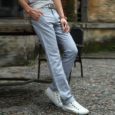 Mens Spring Summer Thin Breathable Flax Solid Color Casual Soft Long Pants