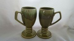 Vintage Pair of Ceramic Green Glazed Espresso Cappuccino Mugs Coffee Cups Hot Toddy Cups Made in Japan