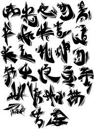 Chinese Fonts Style Of Black Graffiti Alphabet A Z Brushwork Picture