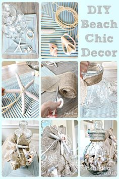 6 light breezy beach inspired projects: DIY beach chic decor - Trend Home Dekor Beach Chic Decor, Beach House Decor, Diy Home Decor, Beach Houses, Room Decor, Beach Wall Decor, Beach Condo, Seashell Crafts, Beach Crafts