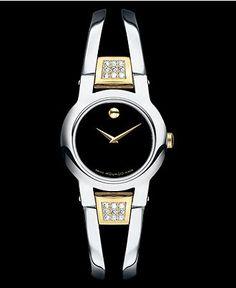 Movado Watch, Women's Swiss Amorosa Diamond (1-1/5 ct. t.w.) Stainless Steel Bracelet 24mm 604983 - Movado - Jewelry & Watches - Macy's