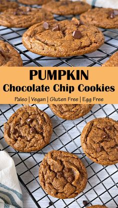 These healthy Vegan Pumpkin Chocolate Chip Cookies are made with pumpkin puree, almond butter and almond flour and sweetened with coconut sugar. These easy pumpkin cookies are soft, chewy and Paleo friendly. #pumpkincookies #pumpkinrecipes #paleocookies #vegancookies
