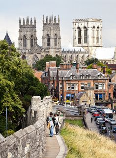 York, England. We walked along that pathway, the old city wall. We stayed in the quaintest Bed and Breakfast here.