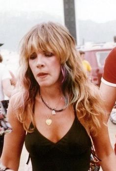Stevie Nicks, in the 70's rockin beachy, bohemian, hair. And, oh, look at all those little chunks of fun colored hair. Looking lovely, and proving that EVERYTHING has been done before.