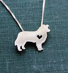 Border Collie with Heart Pendant w/ Necklace