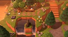 Animal Crossing Pc, Ac New Leaf, Ac2, Cute Gif, Cute Animals, Island, My Town, Waterfall, Nintendo