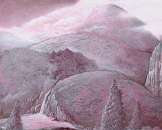 Marie-Noëlle Pécarrère    étude de nature morte et paysage anthropomorphique, Mine de plomb et Tempera sur Bristol,30x42 cm,