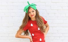 Inspiration, alle Accessoires und eine Schmink-Anleitung, damit du dein Erdbeere Kostüm selber machen kannst.
