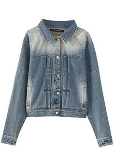 Denim Shirt Women Washed Jacket Autumn Lady Coat Jean Overcoat Short US M(Asian L) * Review more details @ http://www.amazon.com/gp/product/B01CXR2NNY/?tag=clothing8888-20&pef=260716040032