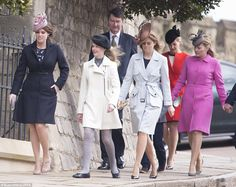 The Queen, and Members of the British Royal Family attended the Sunday Easter Mass at Windsor Castle Princesa Eugenie, Princesa Beatrice, Autumn Phillips, Prince Andrew, Prince Phillip, Prince Edward, Crown Princess Victoria, Crown Princess Mary, Royals Today
