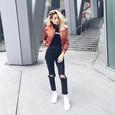 Add a pop of colour to an all black everything outfit with a bomber jacket #AsSeenOnMe