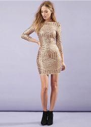 d28814ab4c6369 New Fashion European Gold Women Dress Empire Sexy Backless Bodycon Long  Sleeve O-neck Women Dresses Luxury Sequined Dresses. HaoDuoYi Fashion  Womenswear