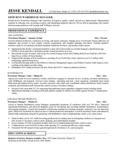 8 Best Resume stuff images | Manager resume, Warehouse resume, Cover ...