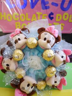 ETSY - Mickey Plush Doll Flower Bouquet with Ferrero by LoveUBouquets, $35.00