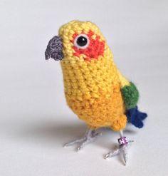 Sun Conure parrot miniature lifelike ♡ by FreshlyKnittedThings Crochet Parrot, Crochet Birds, Love Crochet, Beautiful Crochet, Crochet Animals, Diy Crochet, Hand Crochet, Owl Crochet Patterns, Crochet Designs