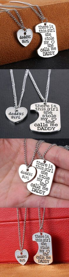 Valentine Gifts: 2Pc Silver Heart Dog Tag Daddys Girl Chain Necklace Pendant Valentine S Day Gift -> BUY IT NOW ONLY: $1.47 on eBay!