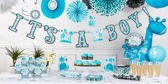 Blue Safari Boy Baby Shower Party Supplies